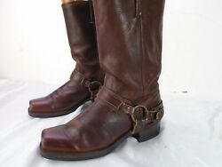 Frye 77250 Belted Harness Brown Leather Motorcycle Boots Women#x27;s Size 10 $70.00