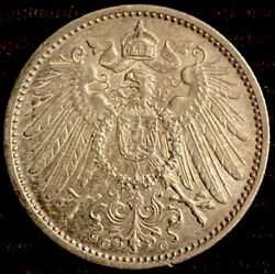 Silver Roughly The Size Of A Quarter 1907 Germany 1 Mark World Silver Coin 619