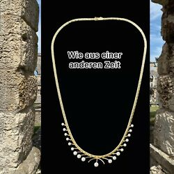 585 14 Ct Yellow Gold Necklace With Pearls 45 Cm Long Good Condition