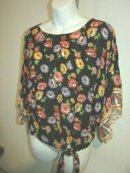 Womenand039s Boho Floral Print Top By Democracy Side Tie / Dolman Sleeve Size Small