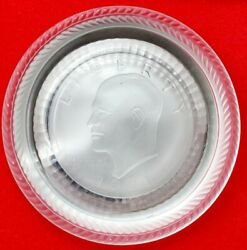 Set 2 1971 Eisenhower Crystal Coin Coaster Kennedy Imperial Summit Glass Coaster