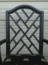 4 Fretwork Faux Bamboo Dining Chairs Chinese Chippendale Hollywood Regency Aloha