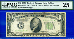 Top Pop 1/0 Star -1934 10 Frn One Known Example - Dallas Non-mule Pmg 25