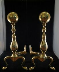 Antique Brass And Steel Fire Andirons Ball Top Fire Dogs Cannon
