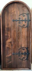 Rustic Reclaimed Lumber Arched Top Plank Door Straps Hinge Wrought Iron Hardware