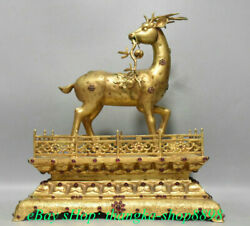 16 Marked Old Chinese Copper 24k Gold Gilt Animal Sika Deer Spotted Deer Statue