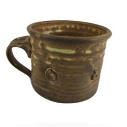 1 Pc Ancient Antique Handmade Signed Pottery Mug Brown Cup - Excellent Condition