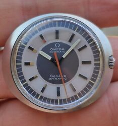 Vintage Men's Omega Geneve Automatic Dynamic Watch Two Tone Sector Dial Ufo Disc