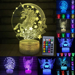 Unicorn Remote Control Gift Kids Home Room Bedroom Table Lamp 3d Led Night Light