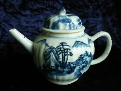 Antique Chinese Qing Dynasty 18th Century Blue And White Export Teapot.