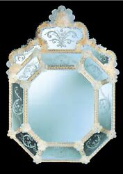 Mirror In Murano Glass Classic With Gold Cert 24 Made By Hand In Italy Italia