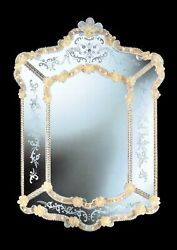 Mirror In Murano Glass Classic With Gold Cert 24 Made By Hand Handmade In Italy