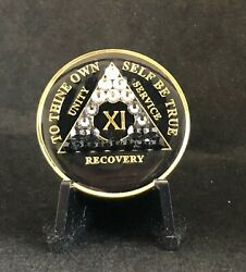11 Year Black Bling Aa Medallion -- Alcoholics Anonymous Chip