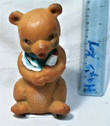 Vintage Baby Bear With Apron And Milk Bottle Pacifier Rubber Toy Doll Rare