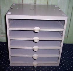Midwest Fastener Hardware Parts Cabinet Heavy Duty W/5 Sliding Drawers Gray