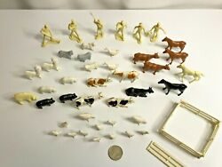Vintage Plastic Toy Farm Animals And Farmers Lot/47 Pieces Marx