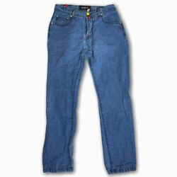 Kiton Napoli Mens Blue Denim Jeans Red Cuff Button Fly Size 31x30 Cotton And Linen