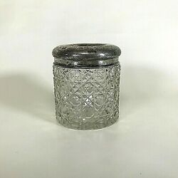 Antique Cut Crystal Hair Receiver W/ English Sterling Lid