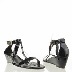 Delman Caryn Womenand039s Black Strappy Patent Leather Sandal Wedges Sz 10 M New 378