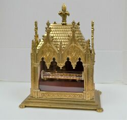 + Large Brass Reliquary Shrine With Tubular Relic Of St. Veronica + Cu908