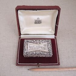 Antique 1843 Sterling Silver Large Snuff Box Engraved Fox Hunt Joseph Willmore