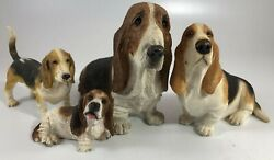 Basset Hounds Lot of 4 Figurines Hound Dogs Brown And Black Vintage