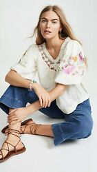 New Free People Bohemia Embroidered Blouse Sz Xs