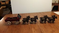 Vintage Cast Iron Budweiser Beer Wagon 8 Clydesdale Horses Cast Iron Toy