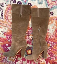 Joan And David Taupe/grey Suede Boots Size 7