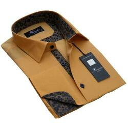 Solid Tan Mens Slim Fit French Cuff Dress Shirts With Cufflink Holes - Casual An