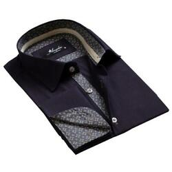 Navy Blue With Pattern Mens Slim Fit French Cuff Dress Shirts With Cufflink Hole