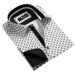 White With Black Pattern Mens Slim Fit French Cuff Dress Shirts With Cufflink Ho