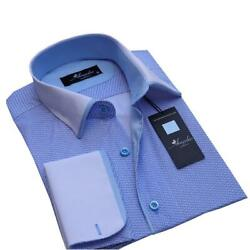 Blue Mens Slim Fit French Cuff Dress Shirts With Cufflink Holes - Casual And For