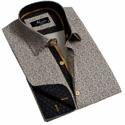 Tan Mens Slim Fit French Cuff Dress Shirts With Cufflink Holes - Casual And Form