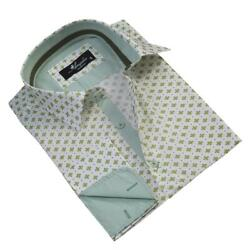 Light Green With Pattern Mens Slim Fit French Cuff Dress Shirts With Cufflink Ho