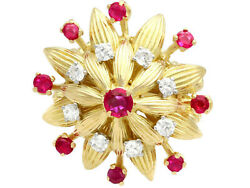 Vintage 0.73ct Ruby And 0.48ct Diamond 18ct Yellow Gold Cocktail Ring Size L