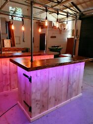 Rustic Industrial Home Bar Gin Beer Ale Folding Coffee Shop Counter Wood Mobile