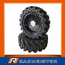 Set Of 4 Skid Steer Solid Tires 12x16.5 For Case With Rims