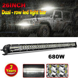 26 Inch Led Light Bar 680w Spot Flood Combo Dual-row Offroad Truck Driving Boat