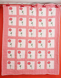 Antique Rose Bud Hand Made Quilt Hand Quilted Applique And Embroidered, Flour Sack