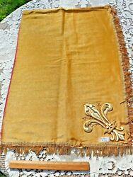 Pair Of French Antique C1800 Gold Metallic Thread Hand Embroidered Appliqués