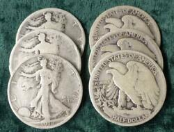 6 Liberty Walking Silver Half Dollars, 1918 And 1918 S, 6 Silver 50-cent Coins