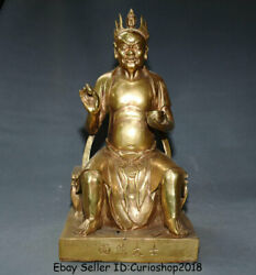 16.4 Rare Old China Brass Copper Folk Surface Burning Master Ghost King Statue