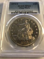 1874-s Trade Dollar Pcgs Ms 62 Chop Mark Highly Sought After Silver Dollar