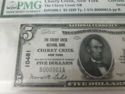 Serial Number 1 1929 5 Cherry Creek, New York Ny Pmg About Unc 50 Epq