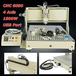 Cnc 6090 Router 4 Axis 1500w Engraving Milling Drill Machine Engraver Usb Port