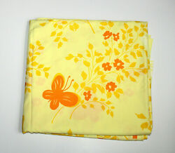 Vintage Pequot Mariposa Butterfly Floral Orange And Yellow King Flat Percale Sheet