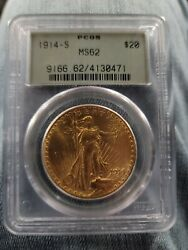 1914-s Us St. Gaudens Double Eagle 20 Gold Coin Ngc Ms-62