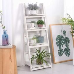 45 Foldable Wood Ladder Display Shelf Plant Stand For Indoor Garden Balcony