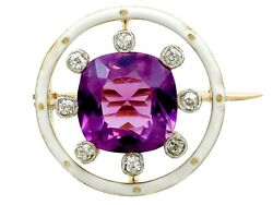 Antique 2.26ct Amethyst And 0.16ct Diamond 18ct Yellow Gold Brooch Circa 1920